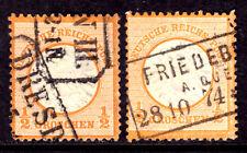 GERMANY #16 1/2gr ORANGE, 1872 LARGE SHIELD LOT/2, F, USED