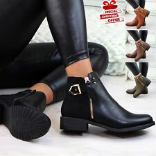 Womens Ladies Flat Ankle Boots Buckle Side Zip Boots Low Heel Casual Shoes Sizes