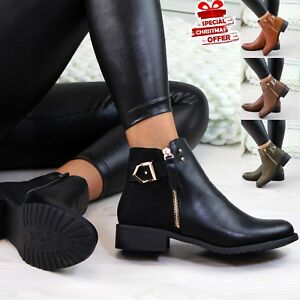 LADIES WOMENS CHELSEA STUDS ANKLE CHUNKY LOW HEEL HIGH TOP SHOES BOOTS SIZE 3-8