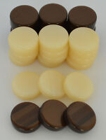 30 Small Acrylic Backgammon Checkers - Chips Brown & Ivory 1 inch - High Quality