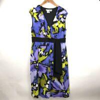 Maggy London Womens Sheath Dress Purple Floral Stretch V Neck Sleeveless 14