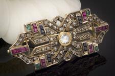 Schmuck Antike Brosche der Labyrinthe mit Diamanten Rubin Smaragd Saphir in Gold