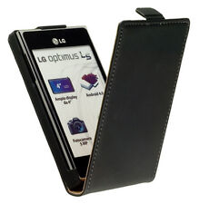 Leder Flip-Style Tasche schwarz f LG Optimus L5 E610 Etui Leather Case black