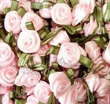 Mini Small Satin Ribbon Rose Flowers with Satin Leaves Choose Colour, Pack Size