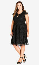 City Chic Akiko Black Fit and Flare Lace Detail Dress XS 14