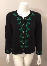 Tally Ho Schwarz Grün Stechpalmen Bestickt Weihnachten Urlaub Pullover Größe M