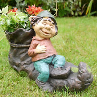 Vintage Resin Gnome Elf On Boot Shoe Flower Herb Planter Garden Plant Bucket Pot