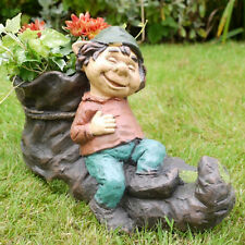 Vintage Resin Gnome Elf On Boot Shoe Flower Herb Planter Garden Plant Bucket Pot