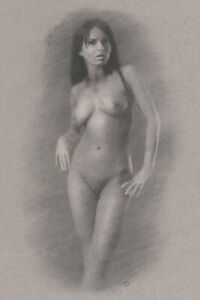 Nude Female ORIGINAL DRAWING Charcoal Chalk Fine Art naked woman NO RESERVE