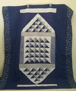 Handmade Throw 41X52 Quilted Wall Hanging Blue Floral Geometric Lap Blanket