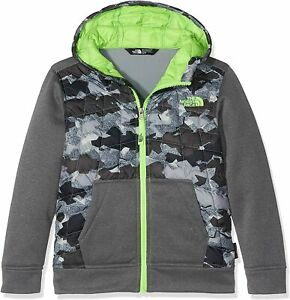 THE NORTH FACE kids jacket with a hood, outdoor, thermal ball, Gray, XS