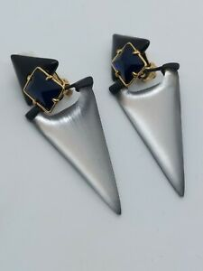 Alexis Bittar White Lucite Plack Plastic Blue Crystal  Dangle Clip on Earrings