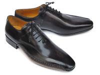 Paul Parkman Men's Black Leather Oxfords - Side Handsewn Leather Handmade Shoes