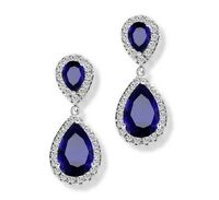 White gold finish blue sapphire and created diamond pearcut dangle earrings