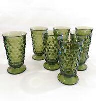 6 + 1 Free Indiana Whitehall Colony Cube AVOCADO GREEN Ice Tea Glasses Tumbler