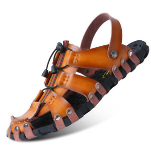 Summer Mens Leather Sandals Shoes Outdoor Beach Sport Casual Slippers Hollow Out