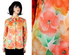 Vintage 70s Shirt Sz M Orange Green Floral Long Sleeve Button Down Blouse Devon