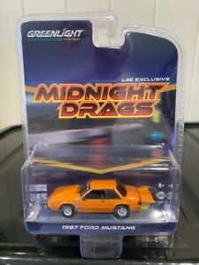 Greenlight LBE Exclusive Midnight Drags 1987 Ford Mustang Orange 1:64 Fox Body