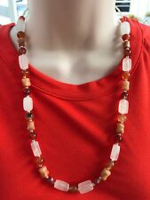 HDMD by Cyndi Necklace of White Italian Onyx, Red Agate, and Rosa Marble Beads