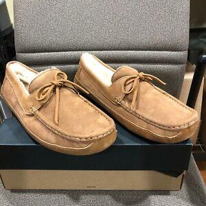 UGG Australia Byron Size 12 Chestnut Leather Fur Slippers    MSRP $140