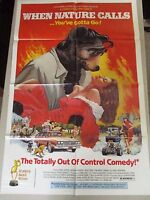 Vintage 1 sheet 27x41 Movie Poster When Nature Calls 1985 CULT FILM BEAR COMEDY