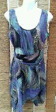 ASOS Ladies Sleeveless Tunic Dress Purple Multi Size 12