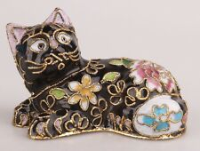 RARE CHINESE CLOISONNE ENAMEL STATUE OLD HANDMADE CAT CHRISTMAS DECORATION GIFT