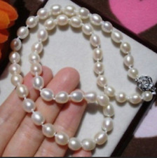 """7-8MM WHITE FRESHWATER RICE PEARL NECKLACE 17"""""""