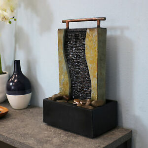 Sunnydaze Bending Slate Tabletop Indoor Water Fountain with LED Light - 17""