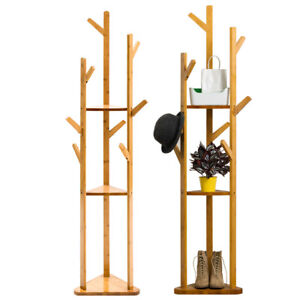 Large Tall Wooden Coat Stand Branch Clothes Rack Hat Hanger Shelf Floor Standing
