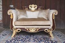 "Impressive 62"" armchair sofa baroque style exclusive italian fabric from castle"