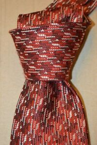 """$250 NWT TOM FORD RED & White abstract houndstooth 3.9"""" woven SILK tie ITALY"""