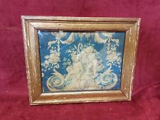 Antique Toile Fabric Fragment In Frame