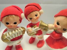Lot 3 Vintage 1950s Napco Figurines Christmas Girls Pixie Musicians Real Hair