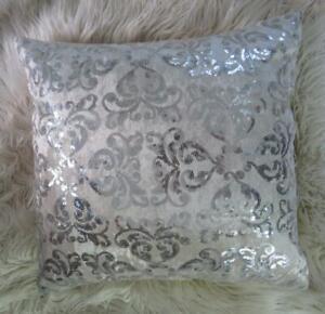 Beautiful Silver Sequin Scrolls Soft Beige Velvet Pillow Cushion Cover 45