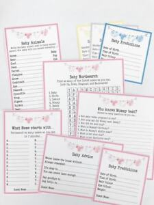 NEW Baby Shower Games value bundle of 6 games! 10 of each inc advice *4 colours