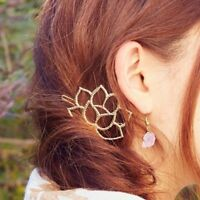 Women Accessories Lotus Flower Alloy Barrette Hair Clip Hairpin Headwear