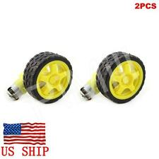2Pcs Smart Robot Car Plastic Tire Tyre Wheel w/ DC 6V Gear Motor Set For Arduino