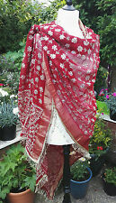 Large Embroidered Burgundy Chiffon Sequined Vintage Indian Sari Scarf Wrap Swag
