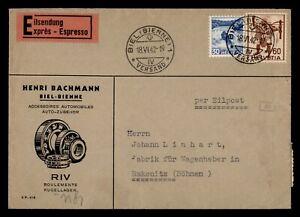 DR WHO 1942 SWITZERLAND BIEL SPECIAL DELIVERY TO CZECHOSLOVAKIA  f45565