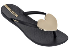 Ipanema Women`s Flip Flops Wave Heart Sandal Black / Gold Brazilian Sandals NWT