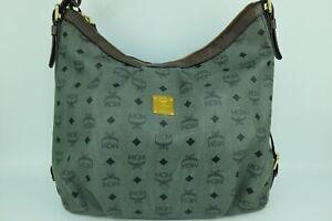 100% Authentic MCM Green Visetos Large Hobo Shoulder Bag