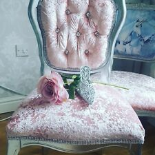 french louis style chair in blush  crush velvet