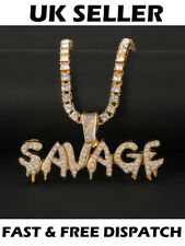 Savage Gold Necklace Iced Out Hip Hop Rappers Diamonte Bling Gangsta