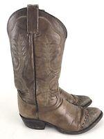TONY LAMA Brown Leather Cap Toe Cowboy Boots Size 8 D Style 6815 VTG