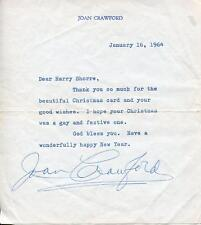 JOAN CRAWFORD SILENT MOVIE ACTRESS IN JOHNNY GUITAR SIGNED LETTER AUTOGRAPH