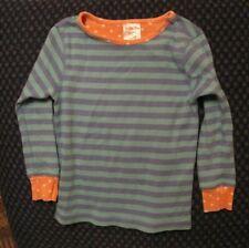 Matilda Jane striped pajama top - 4, blue stripes, pink cuffs, soft and cute!