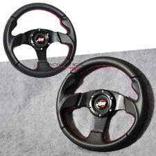 Universal 280MM Racing Steering Wheel Black PVC Carbon Look Red Stitch JDM Horn