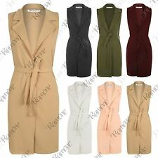 New Women Sleeveless Belted Crepe Open Cardigan Long Waistcoat Blazer Jacket Top