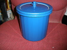Tupperware Ice Bucket Counterparts Royal Blue Push Button Lid 3 Pc Double Wall